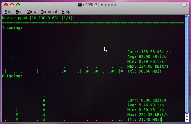 nload Monitoring Network Traffic and Bandwidth using nload