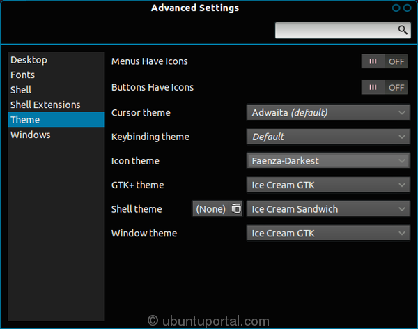 Advanced Settings - Enabled Ice Cream Shell and Ice Cream GTK theme