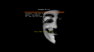 Anonymous OS Live CD GRUB Boot 300x168 Anonymous OS : New Linux Distribution Based on Ubuntu 11.10 Oneiric Ocelot