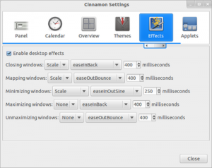 Cinnamon Settings Desktop Effects Cinnamon 1.2 300x238 Cinnamon 1.2: The New Desktop Environment for Linux has been Release comes with 7 Key Additions and Changes