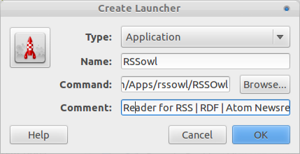 Create launcer RSSowl create launcer RSSOwl 2.1.2: The Best News Feed Reader for Ubuntu/Linux