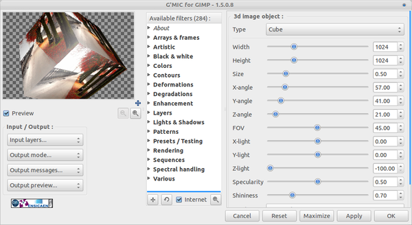 GMIC 1.5.0.8 Come With 284 Effect And Image Filter For GIMP GMIC 1.5.0.8 Come With 284 Effect And Image Filter For GIMP