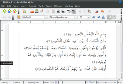LibreOffice Writer Inserting Quran text in LibreOffice Writer