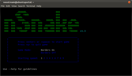 Play nSnake Game in terminal ubuntu 11.10