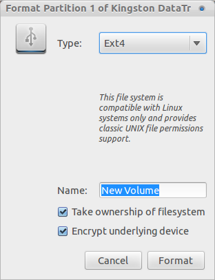 Step 3 - Easy Way to Encrypt USB Flash Drives on Ubuntu