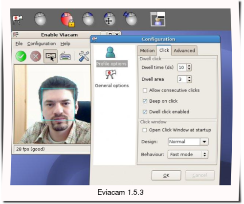 eViacam 1.5.3 : Mouse replacement software - Move Mouse pointer using your head