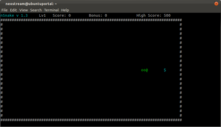 play nsnake Play nSnake Game in terminal ubuntu 11.10